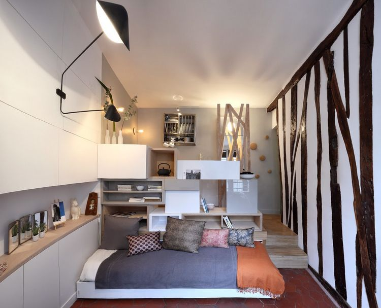 Tiny Space   129 Sq Ft   Transformed Into Mini Apartment With Space Saving