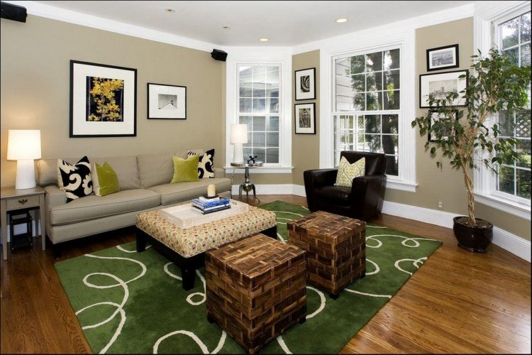 Living room - classic color combination of white, taupe, and black