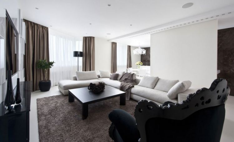 Pale neutrals with dark accents - apartment in Russia - 3