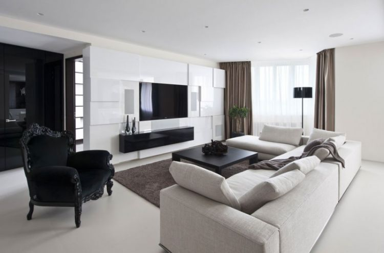 Pale neutrals with dark accents - apartment in Russia - 4